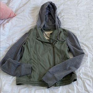 Green and gray Hollister zip up jacket